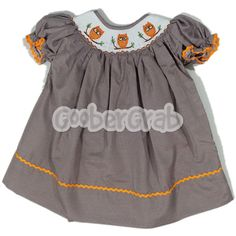 Orange Owl Dress | Bishop Dresses | Girls Smocked Clothing | GooberGrab