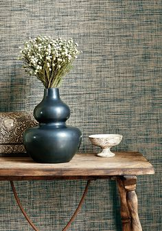 Stablewood #grasscloth #wallpaper in #black from the Grasscloth Resource vol. 3 collection. #Thibaut