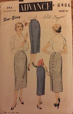 "RARE VTG 6466 Advance (1953). Misses' wrap around skirt. Size 24"" waist. Complete, unused, FF. Excellent condition."