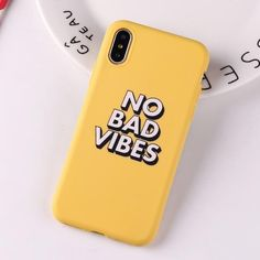 iPhone NO BAD VIBES case - iPhone Xr / Yellow