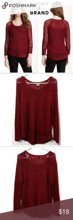 "Marissa Metallic Open Knit Sweater Deep Red/Burgundy sweatshirt with a metallic glimmer from Lucky Brand. Loose, open knit style. Excellent condition with no apparent signs of wear. Small mark on interior designer label. Sz Large, true to size. Measurements: Chest 20"" Length 25"". Lucky Brand Sweaters Crew & Scoop Necks"