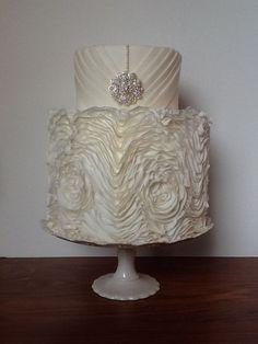 White Glam ~  diamonds and roses  wedding cake