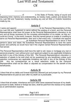 Printable Sample Last Will And Testament Template Form | Real Estate ...