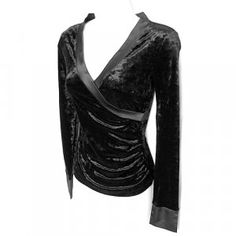 Bisou Bisou Black Velvet Faux Wrap Top $15