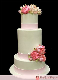 Baby Pink Wedding Cake by Pink Cake Box in Denville, NJ. Beautiful Wedding Cakes, Gorgeous Cakes, Pretty Cakes, Amazing Cakes, Wedding Cakes With Cupcakes, Cake Wedding, Wedding Stuff, Wedding Flowers, Dream Wedding