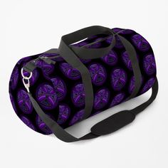 """""""Black and Purple Celtic Cross Pattern"""" Duffle Bag by HavenDesign   Redbubble Cross Patterns, Cross Designs, Duffel Bag, Celtic, Print Design, Shoulder Strap, Just For You, Baggage, Purple"""