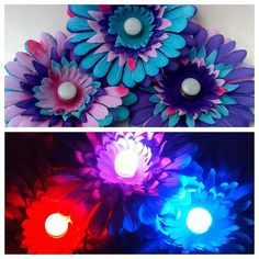 Princess Purple Pink and Blue Electric Daisy Hair Clip Flower, Rainbow Blacklight Accessory, Neon Light Up Rave Wear, Music Festival Costume