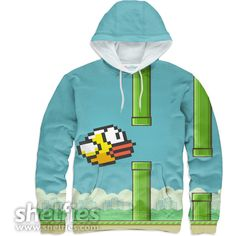 Flappy Bird Hoodie ($64) ❤ liked on Polyvore featuring tops, hoodies, blue hoodies, blue hoodie, bird print top, pattern tops ve print top