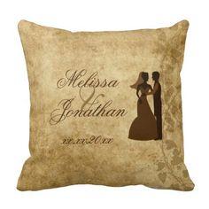 Brown Vintage paper and vines with Bride Groom #Wedding Throw Pillow Cushion by #PLdesign #VintageWedding #WeddingGIft