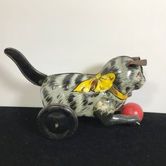 RARE HTF Vintage MARX TIN LITHO CAT w/ LEATHER EARS AND LEVER ACTION TOY #Marx