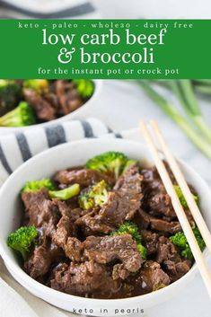 Better than takeout low carb beef and broccoli. Make it in the Instant Pot or crock pot for an easy dairy free keto dinner. Better than takeout low carb beef and broccoli. Make it in the Instant Pot or crock pot for an easy dairy free keto dinner. Keto Beef And Broccoli Recipe, Steak And Broccoli, Broccoli Recipes, Shrimp Recipes, Keto Crockpot Recipes, Ketogenic Recipes, Low Carb Recipes, Ketogenic Diet, Chili Recipes