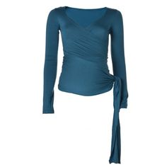KICKER CLOTHING   Long-Sleeved Wrap Top in Teal - Moms and Maternity - kinderelo.co.za