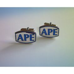 APE Men's Cuff Links, Blue Enamel Silver Tone Metal Promotional... ($18) ❤ liked on Polyvore featuring men's fashion, men's accessories and cuff links