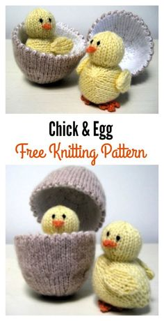Free Chick & Egg Knitting Pattern Easter chicks are spirited with the wonder of birth. These Adorable Chick Free Knitting Patterns are great for easter craft activities. Loom Knitting, Free Knitting, Baby Knitting, Knitting Toys, Easter Craft Activities, Easter Crafts, Animal Knitting Patterns, Stuffed Animal Patterns, Diy Ostern