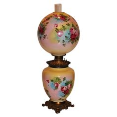 """Museum Quality ~ HUGE Gone with the Wind Oil  Banquet  Lamp ~RARE 13"""" SHADE~Masterpiece BEAUTY WITH HAND PAINTED ROSES~ Outstanding Fancy Ornate Font Spill Ring and Base~ Original Condition ~Original Parts ~ Collector Piece ~ Master Artistry"""