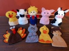 FREE SHIPPING - Felt Finger Puppets - Set of 9 - Farm Animals -Old McDonald Had a Farm