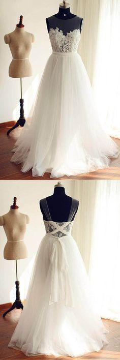 Chiffon Scoop Neckline A-line Wedding Dresses With Lace Appliques WD251 #weddingdress #wedding #dress #lace #chiffon #pgmdress #2018wedding #dreamwedding