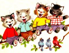 The Seven Wonderful Cats Illustration - clipart etc - Katzen I Love Cats, Crazy Cats, Art Mignon, Image Chat, Photo Chat, Cat Cards, Here Kitty Kitty, Children's Book Illustration, Cat Illustrations