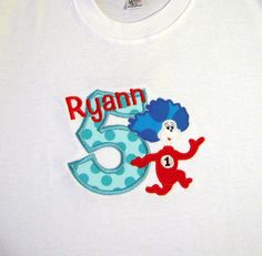 Dr Seuss Personalized Birthday Shirt Thing 1 Thing 2 by whimsytots, $29.00