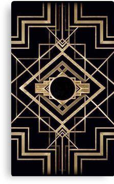 Art deco,vintage,1920 era,The Great Gatsby,gold,black,pattern,elegant,chic,modern,trend Canvas Print Motif Art Deco, Art Deco Pattern, Art Deco Design, Invitaciones Art Deco, Canvas Art, Canvas Prints, Art Prints, Art Nouveau, Art Deco Wallpaper