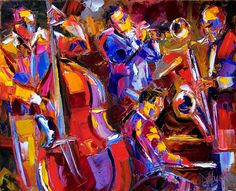 Very colorful abstract jazz painting art
