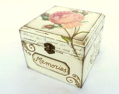 Pink Rose Box Memories Keepsake Treasure Trinket Box Jewelry Box Shabby Chic Rustic Wood Box Vintage Style is part of Decorative boxes - SayaArtDesign section id 12692192 Decoupage Box, Decoupage Vintage, Vintage Crafts, Rustic Wood Box, Wood Wood, Rosen Box, Altered Cigar Boxes, Bedroom Crafts, Shabby Chic Crafts