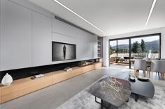 """House In Moshav Beit Zeit - """"Modern Nature"""" - Picture gallery Tv Wall Design, House Design, Home Interior Design, Interior Architecture, Luxury Furniture, Furniture Design, Modern Furniture, Living Styles, Living Room With Fireplace"""