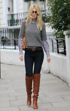 Claudia Schiffer Photo - Claudia Schiffer in West London in cognac leather boots