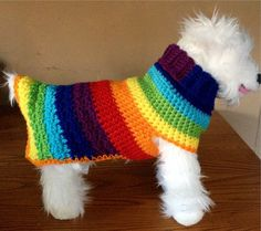 Hippie Handmade, Knit Dog Sweater, small dog sweater, dog sweaters, dog sweater, dog clothes, dog sweaters for sale, rainbow dog sweater