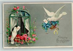 Pfingsten . Weiße Tauben mit Briefen, Fenster mit Rosen: Ansichtskarten-Center Onlineshop