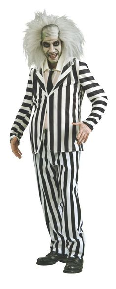 Adult Beetlejuice costume contains Jacket, pants and dickie. Wig not included Beetlejuice Halloween Costume, Beetlejuice Costume, Halloween Men, Theme Halloween, Halloween Fancy Dress, Couple Halloween Costumes, Halloween Outfits, Adult Costumes