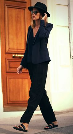 black slouchy trousers + black v-neck + blue blazer.