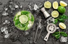 Cocktail drink with lime, mint, ice by LiliGraphie on @creativemarket