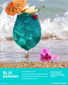Summer is not over until you say it is! Enjoy a long walk on the beach with a refreshing Blue Banana cocktail. Combine 1 part Pinnacle® Vodka, 1.5 parts DeKuyper® Pucker® Island Punch Schnapps and 1 part DeKuyper® Creme de Banana Liqueur with a splash of Pineapple Juice.