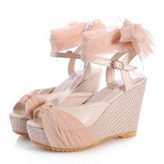 2016 New Peep Toe Ribbon Design Summer Lace Shoes Woman Wedges Platform Sandals Women Pumps