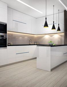 Modern Kitchen Interiors, Luxury Kitchen Design, Modern Farmhouse Kitchens, Luxury Kitchens, Home Design, Design Ideas, Kitchen Modern, Minimalist Kitchen, White Interiors