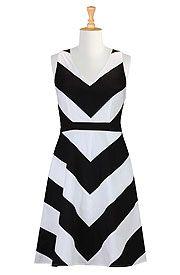 Chevron stripe poplin dress