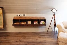 I love the wall shelf- would be great for the boys toys Magnolia Farmhouse- amazing DIY renovation.