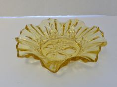 Amber Yellow Pioneer Pattern by Indiana Glass Intaglio - Ruffled edge Bowl by pluckylucky on Etsy