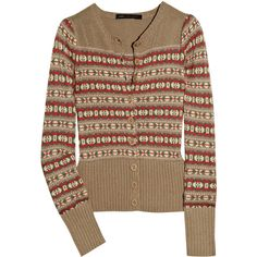 Marc by Marc Jacobs Eloise Fair Isle knitted cotton-blend cardigan ($210) ❤ liked on Polyvore featuring tops, cardigans, sweaters, jackets, women, multi color cardigan, brown tops, multi colored cardigan, colorful cardigans and cotton knit tops