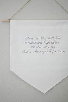 DIY hanging embroidered quote: http://www.stylemepretty.com/living/2016/08/18/an-easy-diy-totally-transforms-this-room-into-the-ultimate-kid-space/