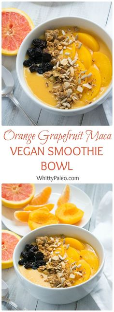 Healthy Vegan Orange Grapefruit Smoothie Bowl - paleo and vegan raw maca superfood smoothie bowl
