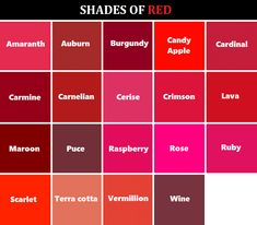 Shades of Red Here's a handy dandy color reference chart for you artists, writers, or any one else who needs it! Red Color Names, Pink Color, Purple Kitchen Designs, Different Shades Of Red, Red Paint, Color Shades, Color Pallets, Pantone Color, Paint Colors