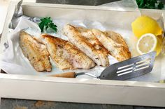 Combine flour, salt and pepper in a shallow dish. Lightly coat one side of each fillet in flour mixture. Turn each fillet over and coat second side of each fillet. Heat a large non-stick skillet ov… Pan Fried Fish, Fried Fish Recipes, Meat Recipes, Seafood Recipes, Paleo Recipes, Cooking Recipes, Fish Fry, Dinner Recipes, Seafood