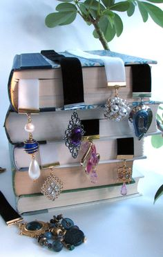 Upcycled Velvet Ribbon Bookmarks  $10.00, via Etsy.