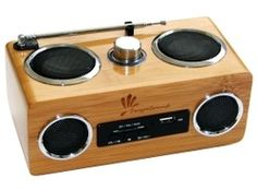 Bamboo portable speaker. Take your music with you wherever you go with this cool, good looking speaker.$49
