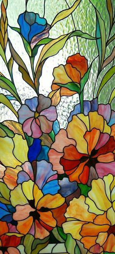 Beautiful Stained Glass window of Violets