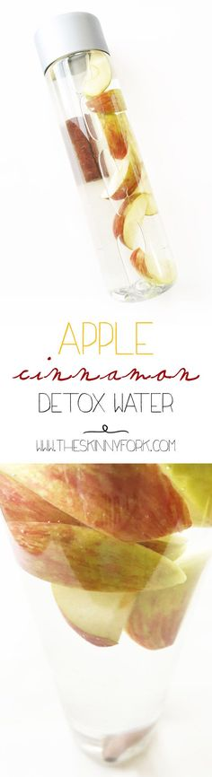 Apple Cinnamon Detox Water - A fall friendly detox water that does so many good things for your body! TheSkinnyFork.com