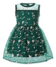 cd8c335f7f8 Another great find on  zulily! Dark Green Sheer-Overlay Floral A-Line