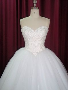 Strapless princess ballgown Wedding Dress with handmade embroidery, beading and lace up back on Etsy, $574.95